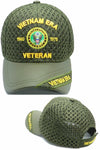 Vietnam ERA Army Veteran Hat Military Baseball Cap, Mens Womens, OD Olive Green, Leather and Air Mesh
