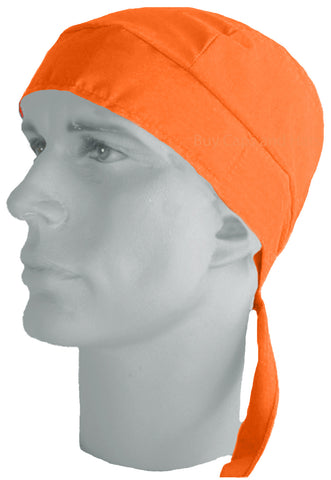 Doo Rag Hi-Vis Orange Bandana Safety Head Wrap Motorcycle Skull Cap Cotton