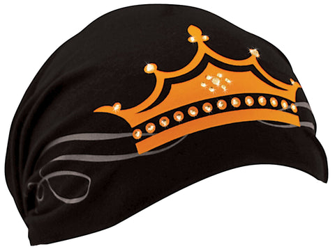 Black and Orange Crown Headwrap | Queen | Princess | King | Very Soft | Yoga, Cyclists, Chemo Bald Head Cover