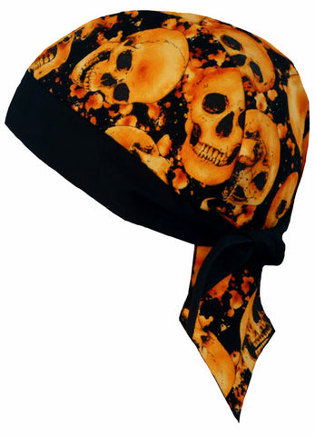 Skull Doo Rag Motorcycle Cap Skeleton Heads Orange and Black Biker Dorag w/ Sweatband MADE IN AMERICA