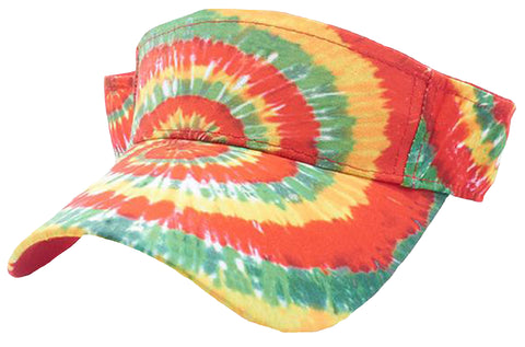 Tie Dye Golf Visor Orange Yellow Green and White 1960s Sun Visors Hippie Hippy 60s Woodstock Tye Die