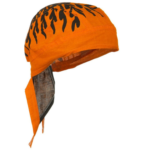 Orange and Black Doo Rag Bengals Durag Skull Cap Cotton Halloween Motorcycle Hat