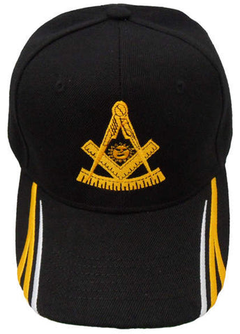 Past Master Mason Hat Black Baseball Cap with Masonic Emblem, Lodge Headwear