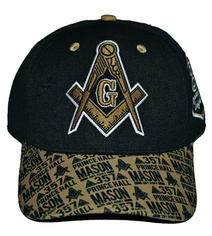 PRINCE HALL MASON CAP Black Regalia PH F&AM Hat with Gold Embroidery