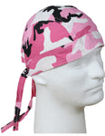 Pink Camouflage Head Wrap Doo Rag Camo Durag Skull Cap Cotton Sporty Motorcycle Hat
