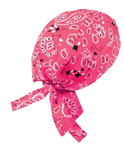 Pink Paisley Headwrap Doo Rag Durag Skull Cap Cotton Sporty Motorcycle Hat