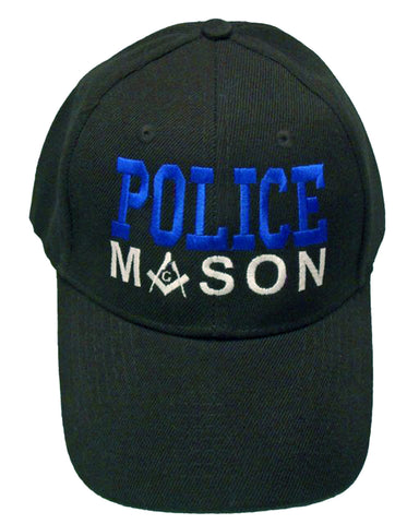 Mason Hat Black POLICE Baseball Cap with Masonic Logo Freemasons Shriners Prince Hall Lodge Headwear
