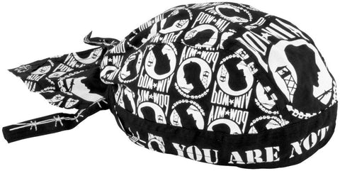 POW MIA Doo Rag You Are Not Forgotten Military Head Wrap Black and White Durag Skull Cap Cotton Sporty Motorcycle Hat