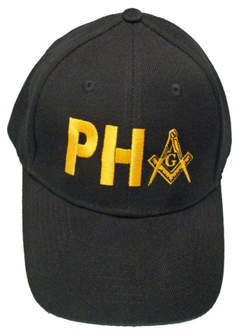 Mason Hat Black Prince Hall PH Baseball Cap with Masonic Logo Freemasons Shriners Prince Hall Lodge Headwear