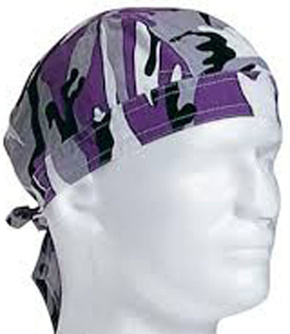 Purple Camouflage Head Wrap Doo Rag Camo Durag Skull Cap Cotton Sporty Motorcycle Hat