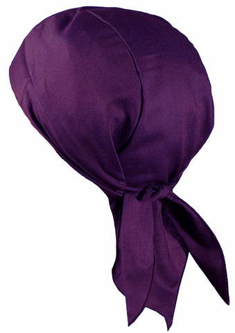 PURPLE Doo-Rag Skull Cap Solid with a Sweatband Cotton Helmet Liner MADE IN THE USA