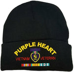Purple Heart Vietnam Veteran Winter Watch Hat, Black Cold Weather Beanie, Military Skull Cap