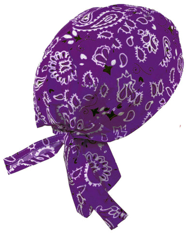 Purple Paisley Headwrap Doo Rag Durag Skull Cap Cotton Sporty Motorcycle Hat