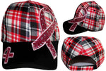 Pink Ribbon Checkered Baseball Cap Breast Cancer Awareness Womens Red, Black and White Hat