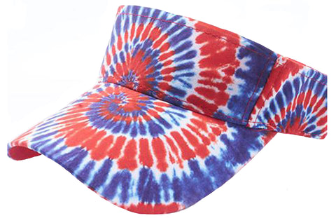 Patriotic Tie Dye Golf Visor Red White Blue 1960s Sun Visors Hippie Hippy 60s Woodstock Tye Die