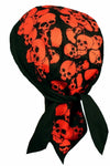 Skulls Doo Rag Hat MADE IN AMERICA Bandana Head Wrap Black and Red for Men or Women