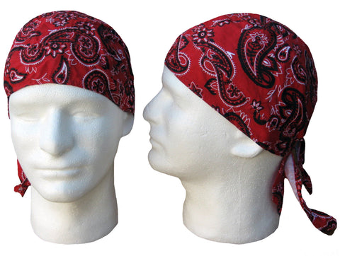 Red Paisley Headwrap Doo Rag Durag Skull Cap Cotton Sporty Motorcycle Hat