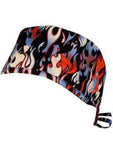 Red White and Blue Hot Rod Flames Surgical Scrub Cap w/ Sweatband MADE IN THE USA Doctors Surgeon Hat for Men Women