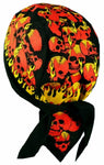 Skulls and Flames Doo Rag Hat MADE IN AMERICA Bandana Head Wrap Black, Yellow and Red for Men or Women
