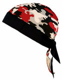 Camouflage Doo Rag | MADE IN AMERICA | Red, Black, White Camo Bandana | Motorcycle Head Wrap | Cotton with Sweatband