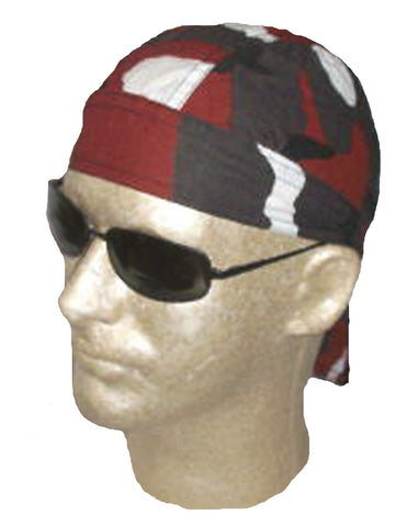 Camouflage Doo Rag Motorcycle Cap Red and Black Brick Head Wrap  Camo Durag Skull Cap Cotton Sporty Motorcycle Hat