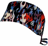 Nursing Scrub Hat Scrubs Cap, Cotton, Black Red White and Blue Patriotic Tank flames Fire Flaming