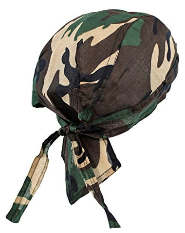 Camouflage Head Wrap Doo Rag Woodland Camo Durag Skull Cap Cotton Sporty Motorcycle Hat