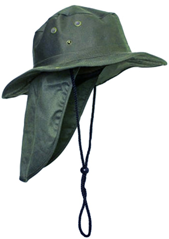 Safari Boonie Fishing Sun Hat Cotton Blend - Olive Drab Green MEDIUM