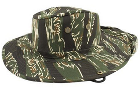 Safari Boonie Fishing Sun Hat Cotton Blend - Tiger Stipe Camouflage Camo MEDIUM