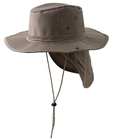 Safari Boonie Fishing Sun Hat Cotton Blend - Khaki SMALL