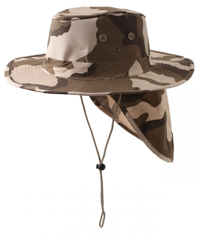 Safari Boonie Fishing Sun Hat Cotton Blend - Desert Camouflage Camo LARGE