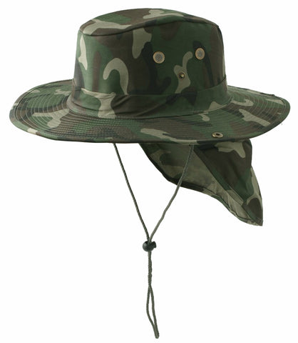 Safari Boonie Fishing Sun Hat Cotton Blend - Woodland Green Camouflage Camo SMALL