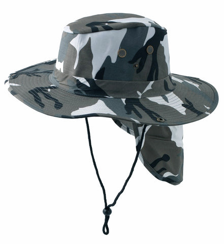 Safari Boonie Fishing Sun Hat Cotton Blend - Gray Urban City Camouflage Camo LARGE