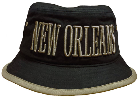 New Orleans Bucket Hat Black and Khaki Fishing Boonie Saints NFL Football Team