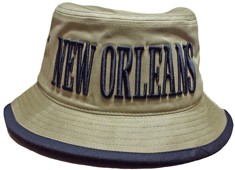 New Orleans Bucket Hat Khaki and Black Boonie Saint Football Team