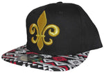 CLEARANCE Fleur De Lis Hat Snapback Black and Gold Aztec Baseball Cap