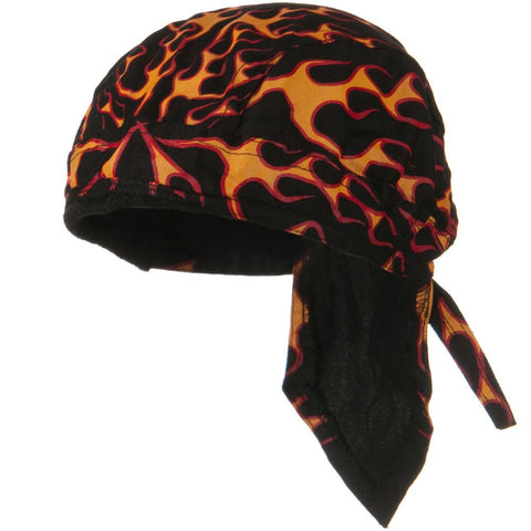 Black Doo Rag with Flames Head Wrap Durag Skull Cap Cotton Sporty Motorcycle Hat