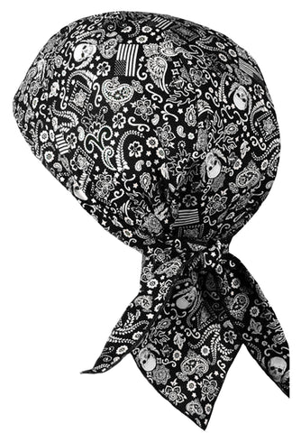 Black Paisley Headwrap Doo Rag with SWEAT BAND Durag Skull Cap Spandex Sporty Motorcycle Hat