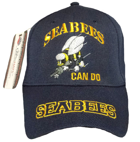 US Navy Seabees Baseball Cap Blue Military Hat with Logo Emblem for Men Women Vets
