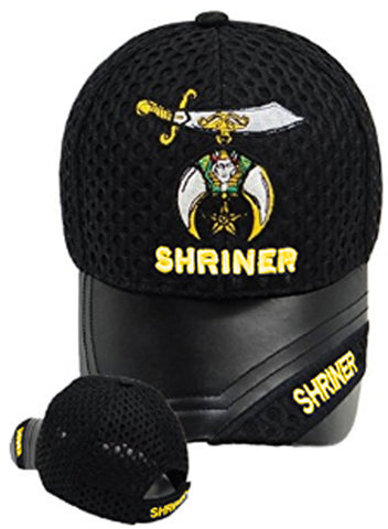 Shriner Hat Black Baseball Cap with Logo Associated with Freemasons Shriners Prince Hall Masons Lodge Headwear