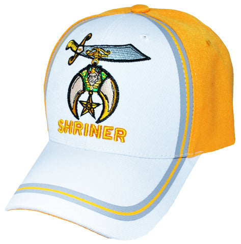 White and Gold SHRINER Baseball Cap for Freemasons Shriners Masons Headwear
