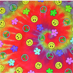 Tie Dye Bandana Hippie 60s Peace Sign Smiley Face Flowers Cotton Rainbow Colors