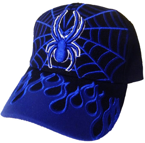 Spiderman Youth Baseball Cap Black Blue Kids Web Hat with Flames Boys Girls Childrens