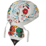 Sugar Skulls Dia de Muertos Doo Rag Cap Day of the Dead Biker Hat Bandana Head Wrap White for Men or Women