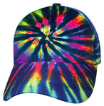 Tie Dye Baseball Cap 1960s Tye Die Hippie Hat Fun Woodstock Rainbow Hippy 60s Colorful Hi-Vis