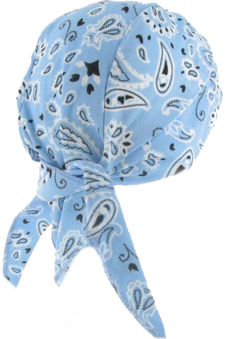 Light Blue Paisley Headwrap Doo Rag with SWEAT BAND Durag Skull Cap Spandex Sporty Motorcycle Hat