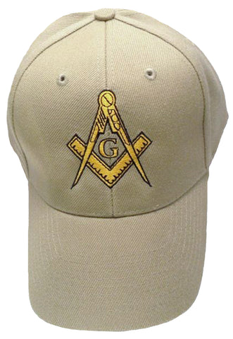 Mason Hat Tan Baseball Cap with Masonic Logo Freemasons Shriners Prince Hall Lodge Headwear