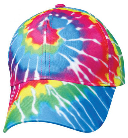 Tie Dye Cap 1960s Tye Die Hippie Hat Fun Woodstock Rainbow Hippy 60s Colorful Hi-Vis