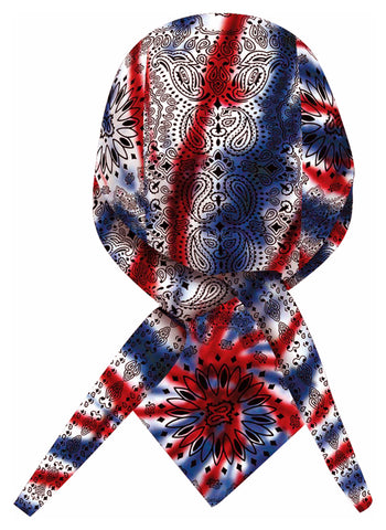 Tie Dye Doo Rag 1960s Patriotic Red White Blue Paisley Tye Die Hippie Fun Woodstock with SWEATBAND