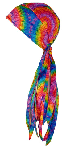 Tie Dye Doo Rag 1960s Rainbow Tye Die Hippie Fun Woodstock ROVER Long Tails and SWEATBAND MADE IN THE USA